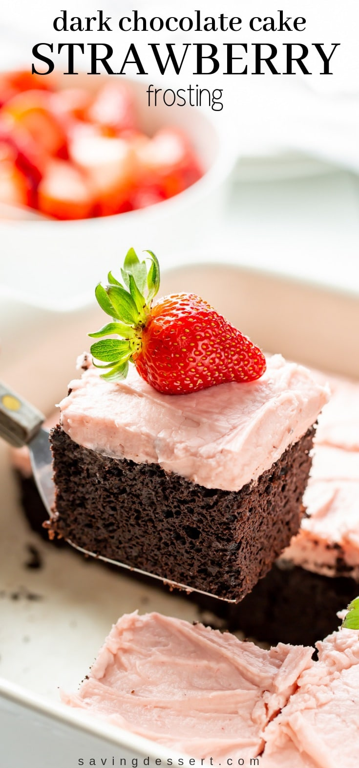 Enjoy this rich Dark Chocolate Sheet Cake slathered with fresh Strawberry Frosting -  a delicious match made in heaven! #darkchocolatecake #chocolatesheetcake #chocolatecake #strawberryicing #freshstrawberryfrosting #strawberryfrosting #strawberry