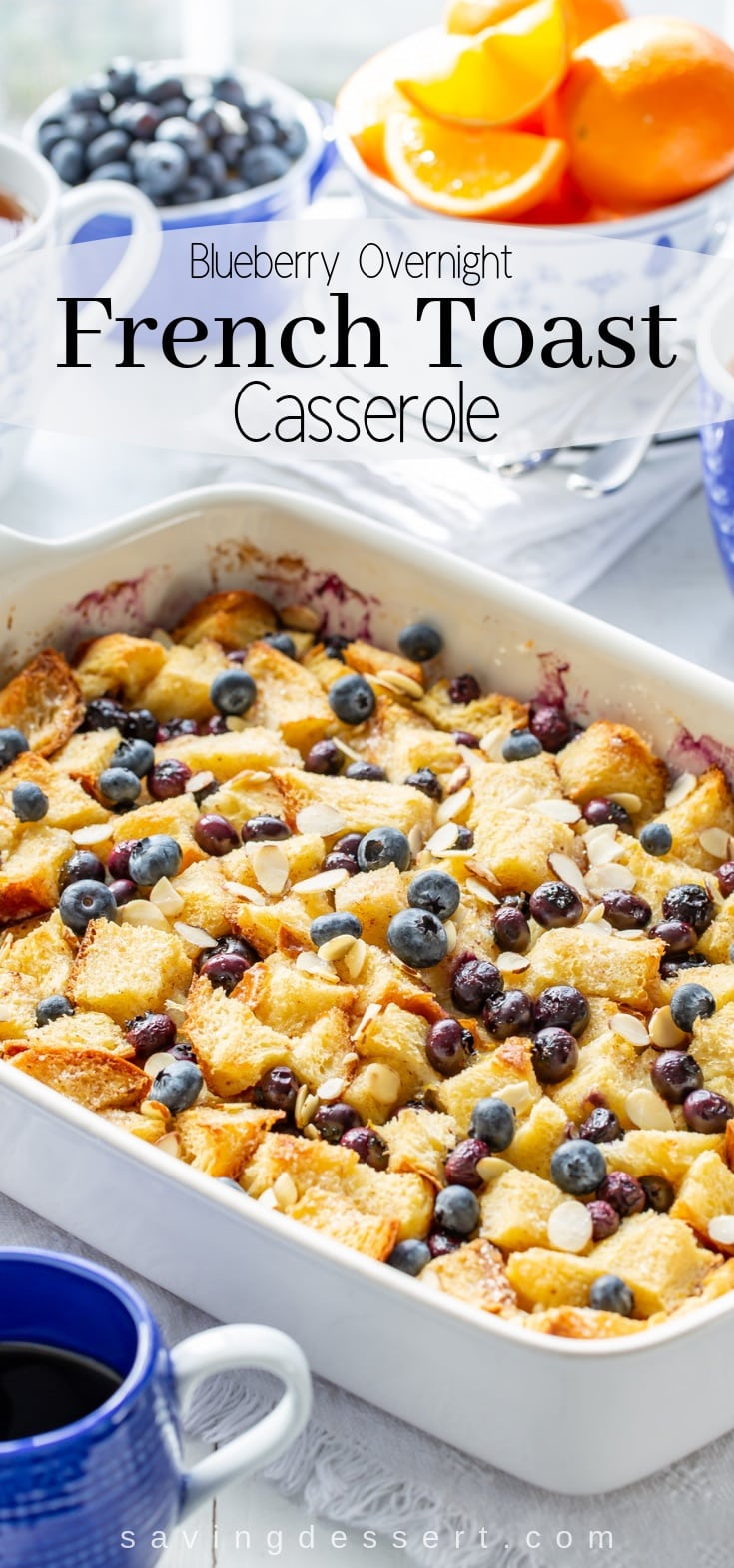 Blueberry Overnight French Toast Casserole - anybody can make this delicious weekend brunch favorite easily assembled the night before then baked in the morning. #frenchtoast #blueberrycasserole #blueberryfrenchtoast #breakfastcasserole #overnightcasserole ##blueberryfrenchtoastcasserole #overnight #brunch #breakfast #mothersday