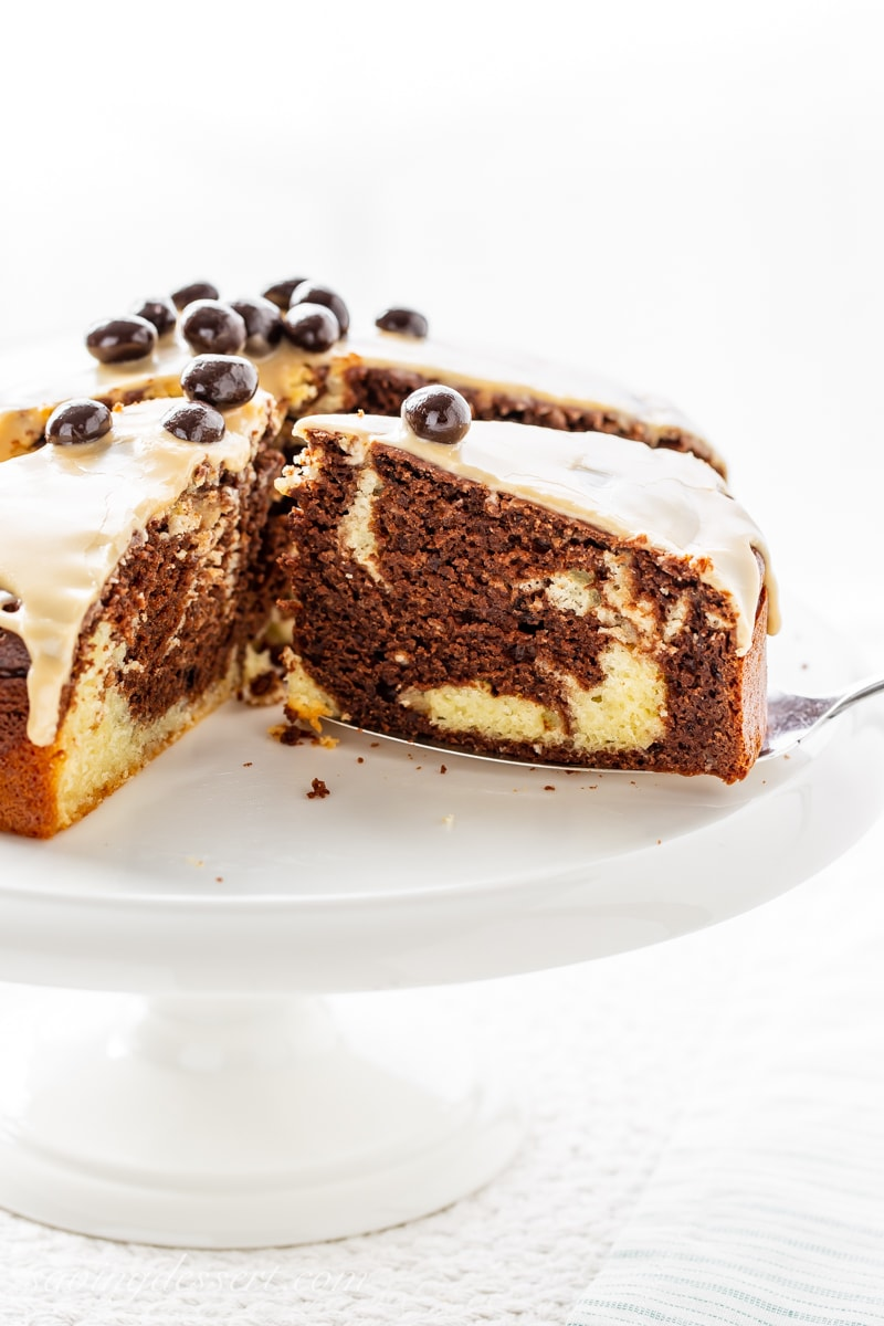 A marbled and sliced Irish cream breakfast cake topped with espresso beans