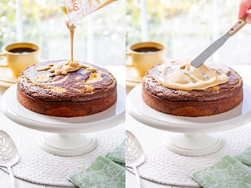 A collage of photos drizzling and spreading a glaze on an Irish Cream Breakfast Cake
