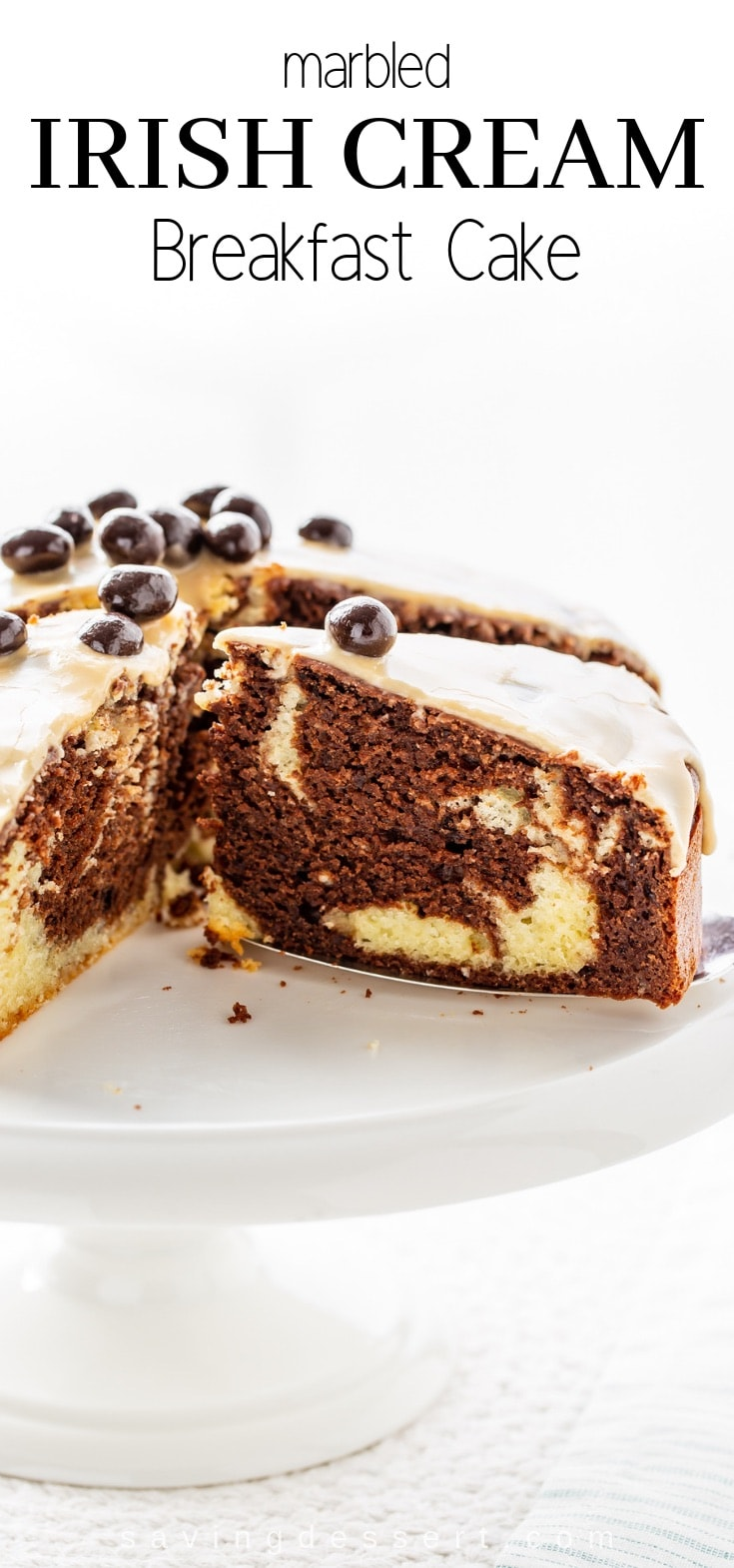 Marbled Irish Cream Breakfast Cake has a soft, tender crumb and layers and layers of flavor from the coffee extract and luscious Irish cream! #Irishcream #breakfastcake #coffeecake #mochacake #irishcreamcake #irishcreambreakfastcake #cake #easycake #brunchcake