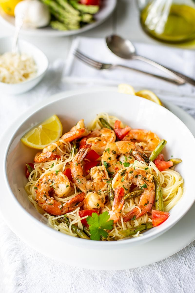 Sprimp Scampi over angel hair pasta with fresh grated Parmesan