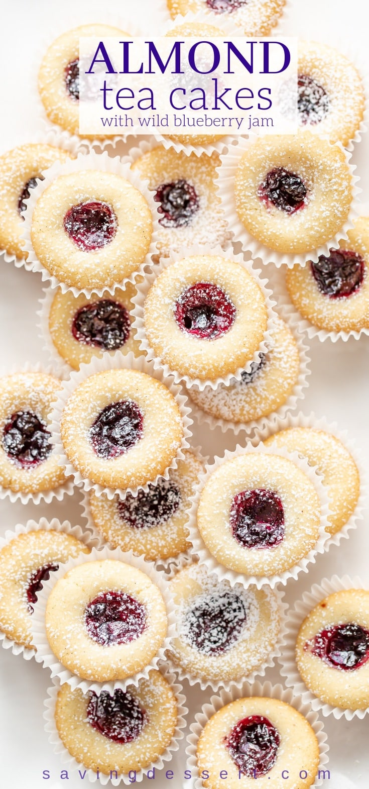Almond Tea Cakes with Wild Blueberry Jam - tender little buttery gems with great texture and loads of flavor from the almond extract and almond flour. #cookies #teacakes #teacookies #almondcookies #almondteacakes #blueberryteacakes #dessert