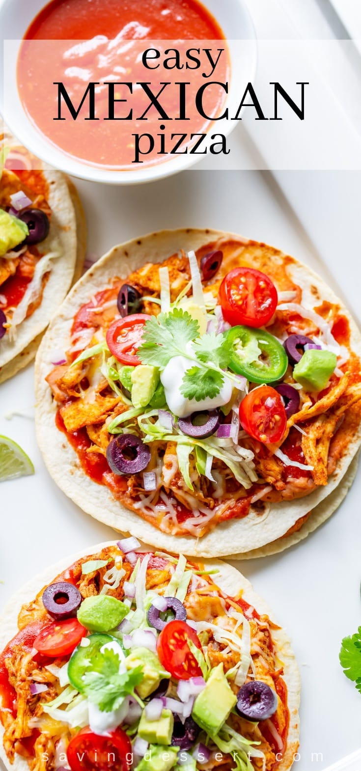 Try our Easy Mexican Pizza layered with refried beans, spicy chicken, onions, shredded cheese and plenty of taco sauce then top with your favorite add-ons! #mexicanpizza #tacopizza #easytacopizze #medican #cincodemayo #tacobellcopycat