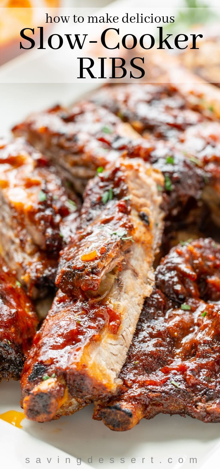 Slow-Cooker Ribs - juicy, tender and flavorful St. Louis-style pork spareribs slow-cooked then grilled or broiled for the perfect char. #slowcooker #slowcookerribs #BBQribs #ribs #barbecuedribs #slowcookerribsrecipe #slowcookerporkribs #stlouistyleribs #bbq