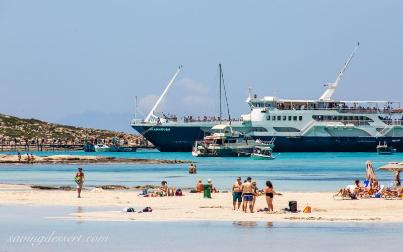 A ferry boat docked at Balos Beach