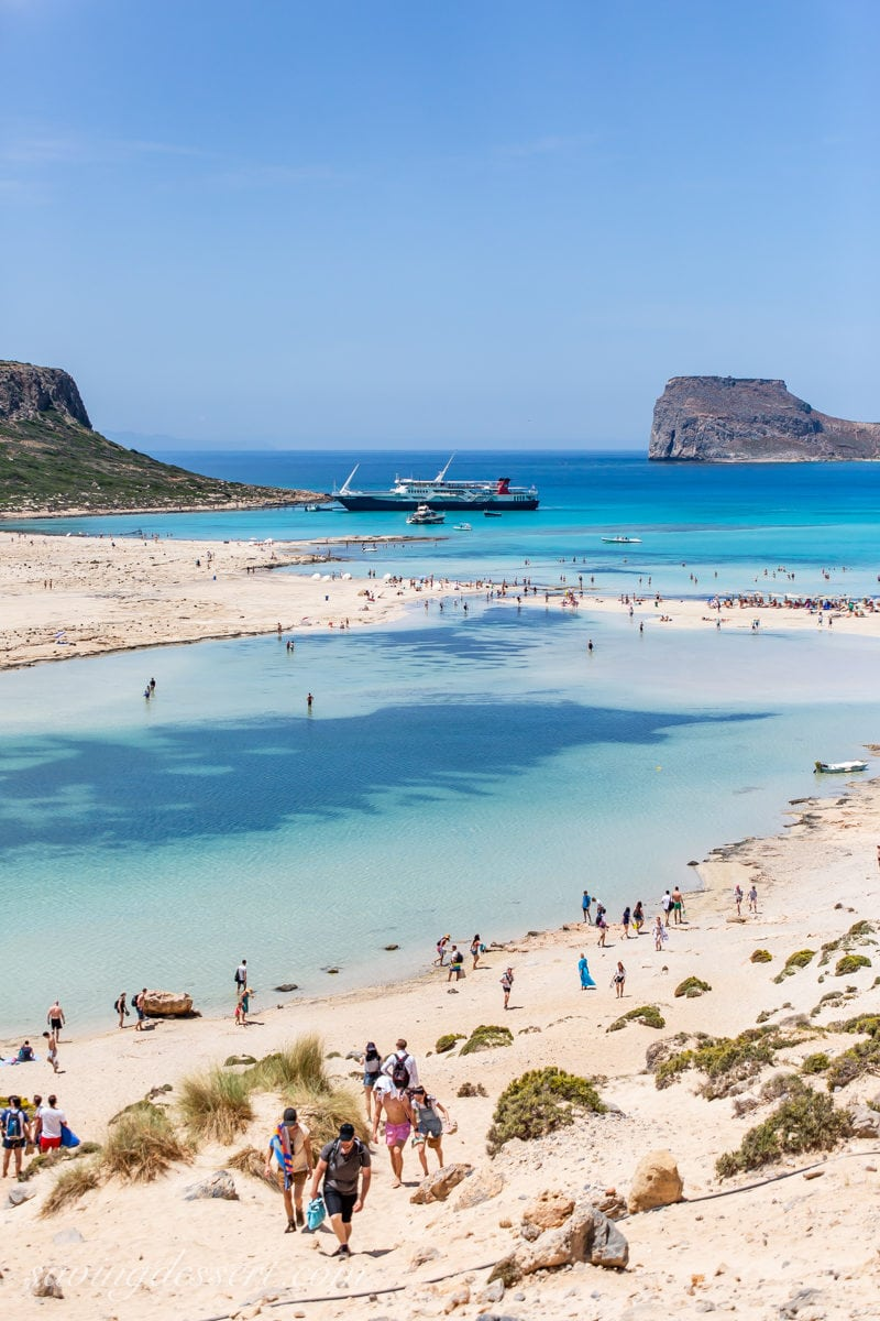 Balos Beach with a ferry boat in the background