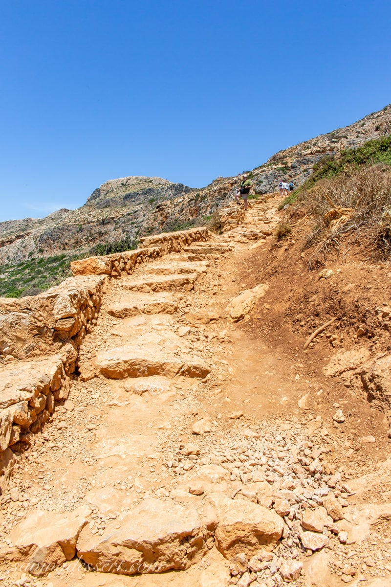 The trail going up the mountain from Balos Beach
