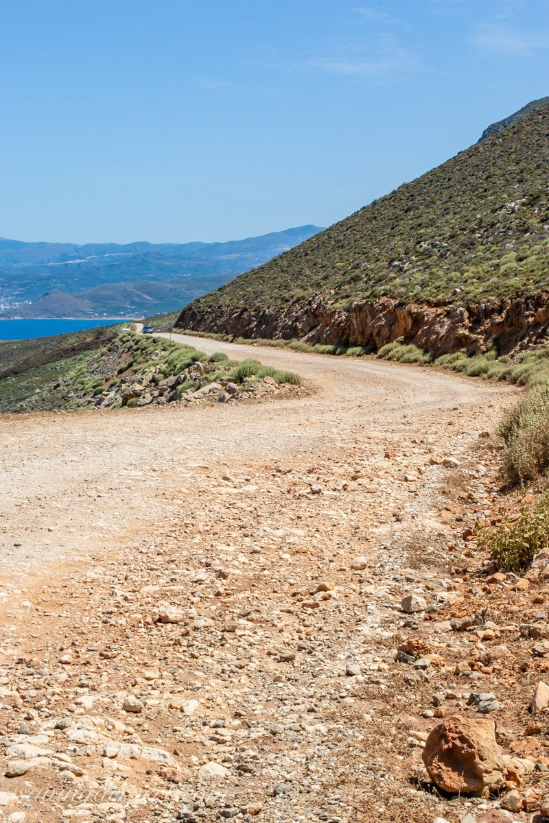 The road to Balos Beach on the Island of Crete in Greece