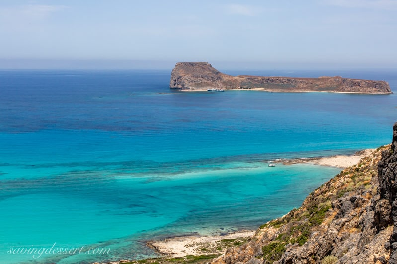 The blue water of the Mediterranean Sea near the Island of Crete