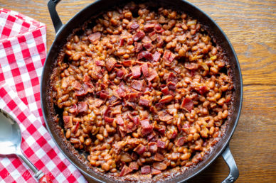 A pan of baked beans