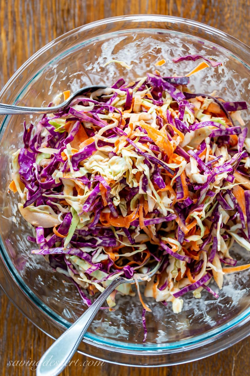 Spicy slaw made with purple and green cabbage in a light dressing