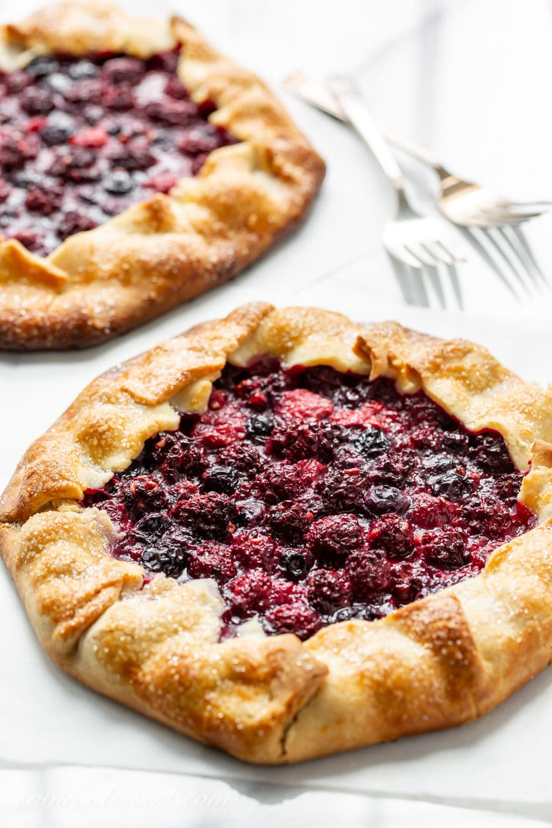 Two small homemade mixed berry crostatas