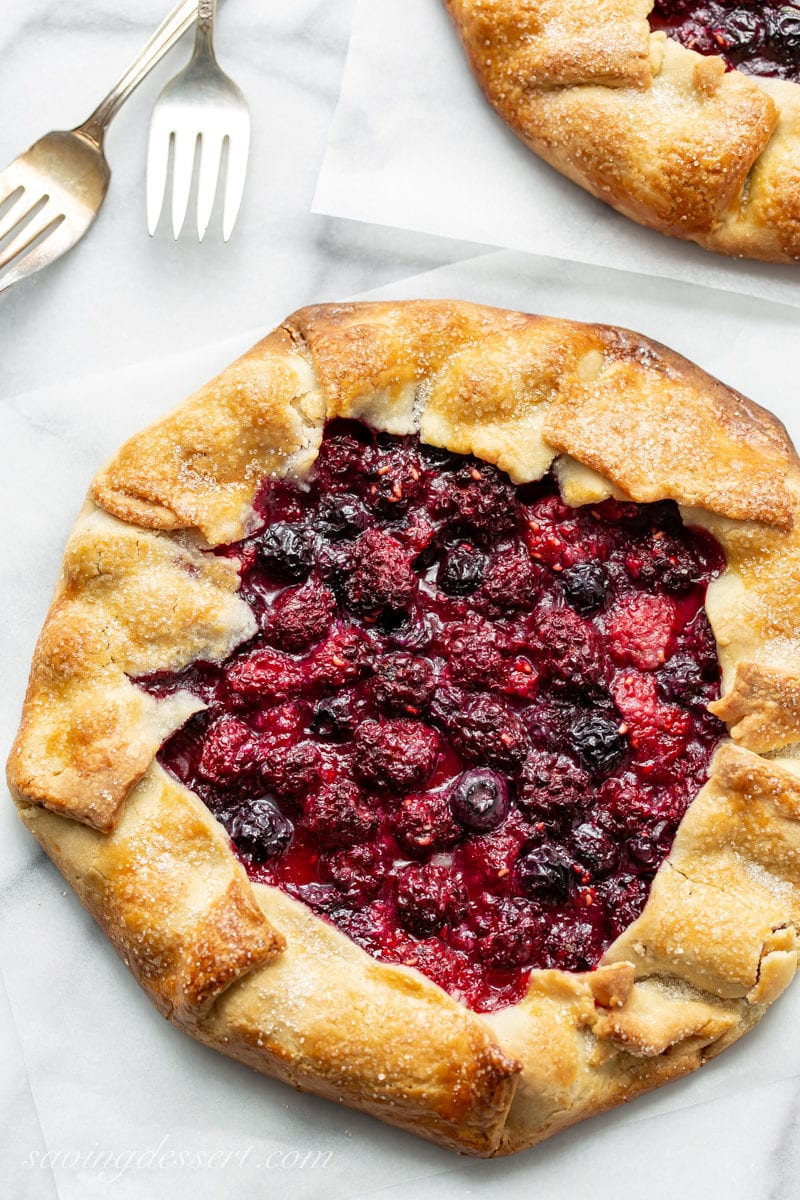 Mixed berry crostata with raspberries, blueberries and blackberries