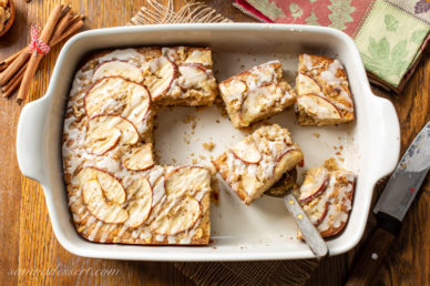 An Apple Sheet Cake sliced