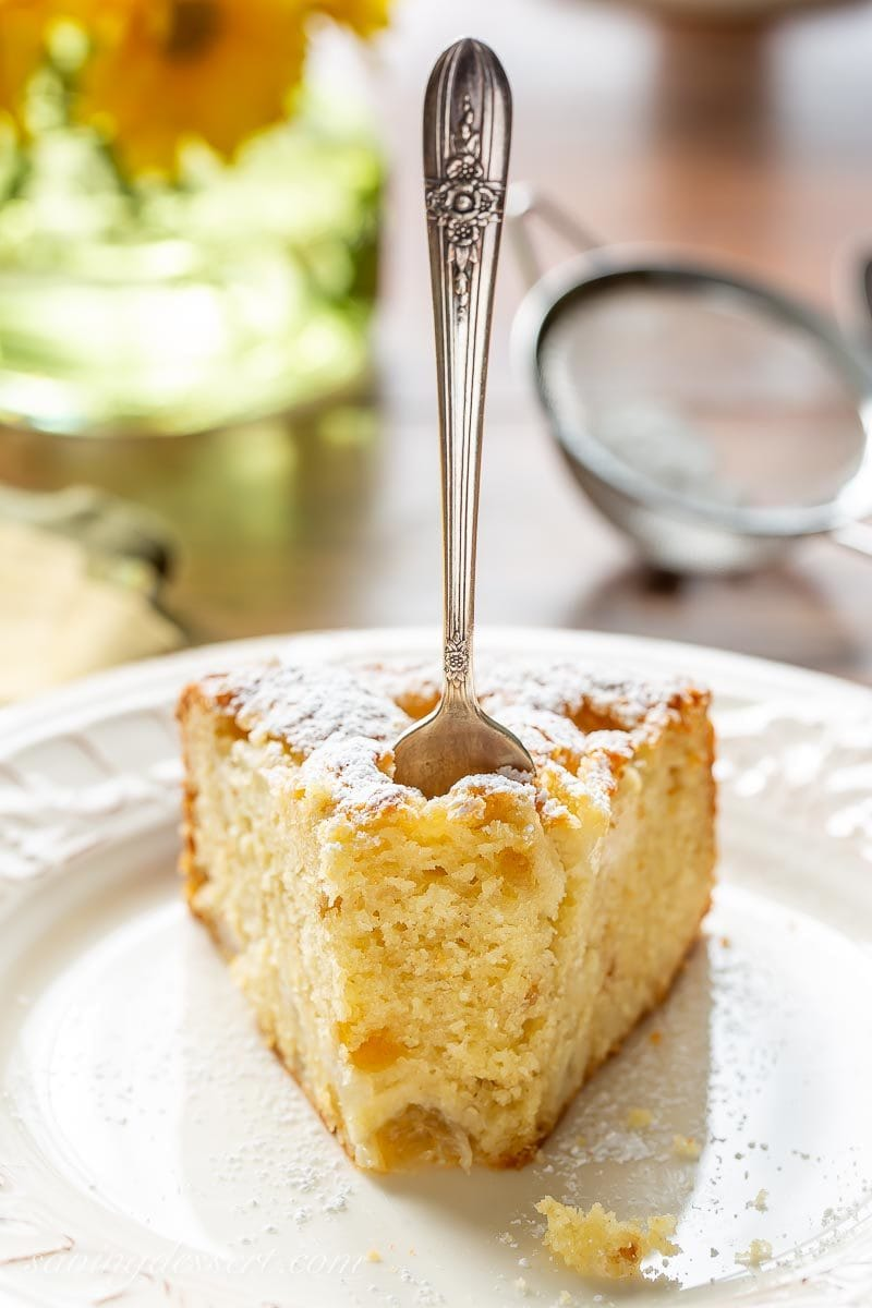 A slice of fresh pear cake with ginger