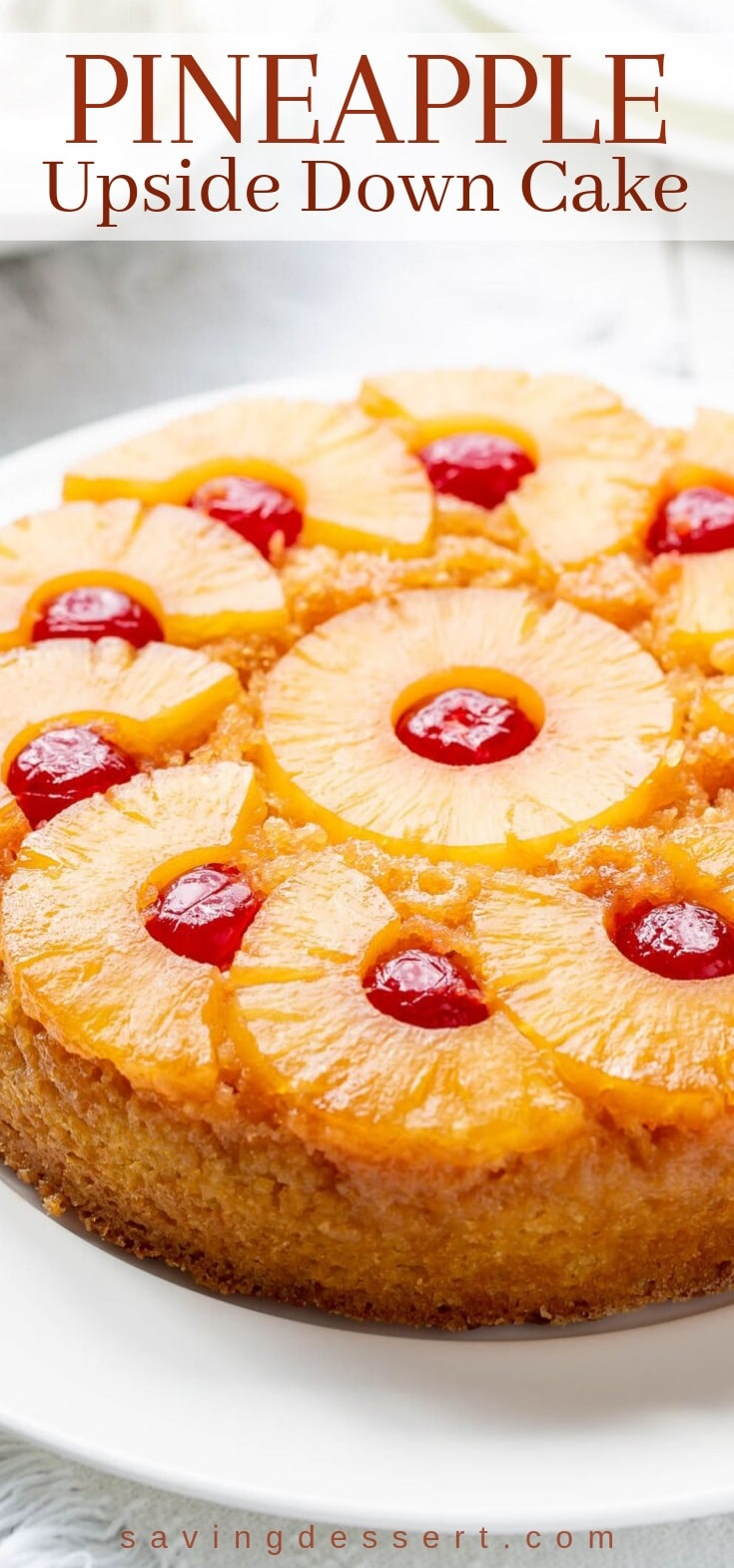 A close-up of pineapple upside down cake