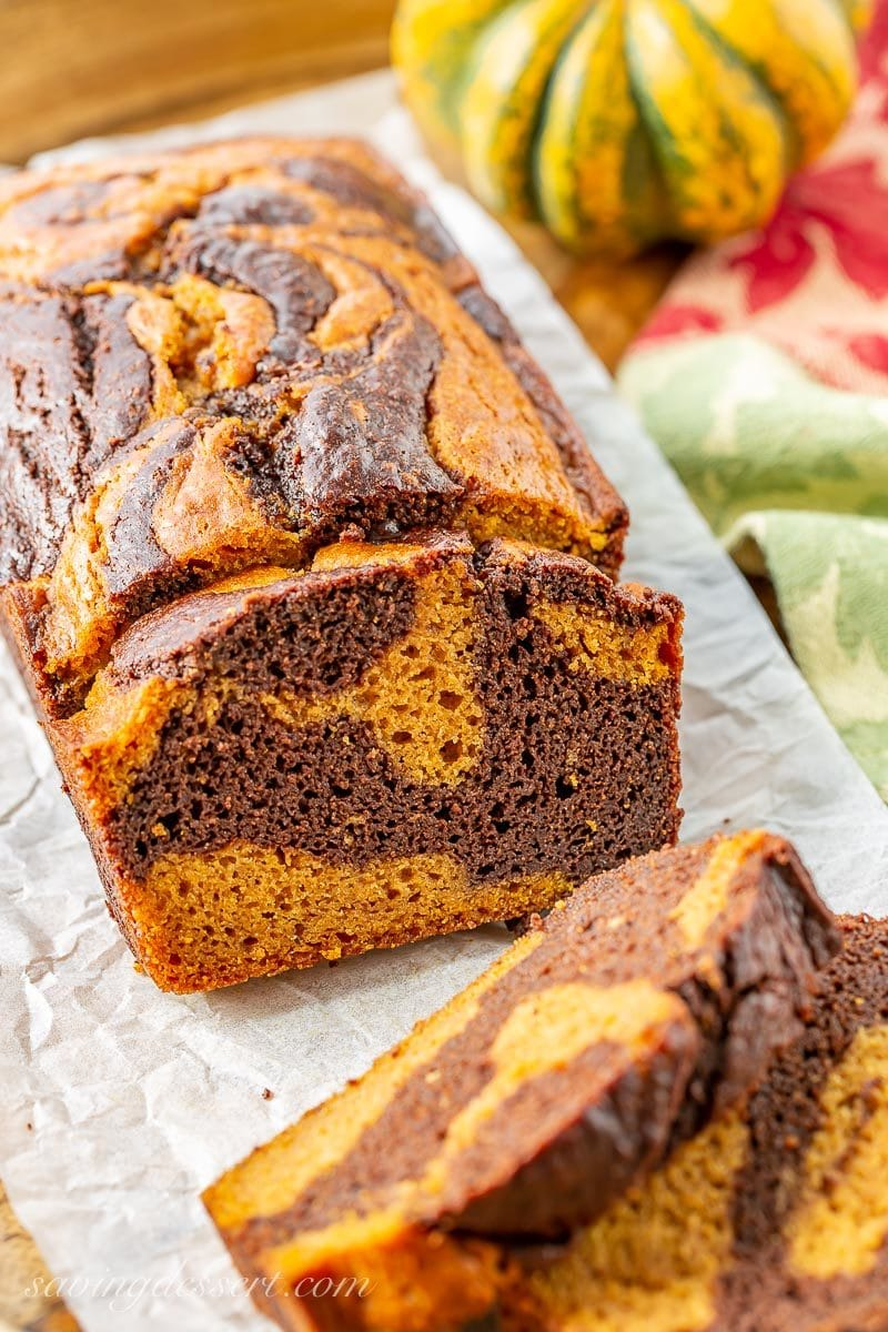 Chocolate Marbled Pumpkin Bread sliced on a tray