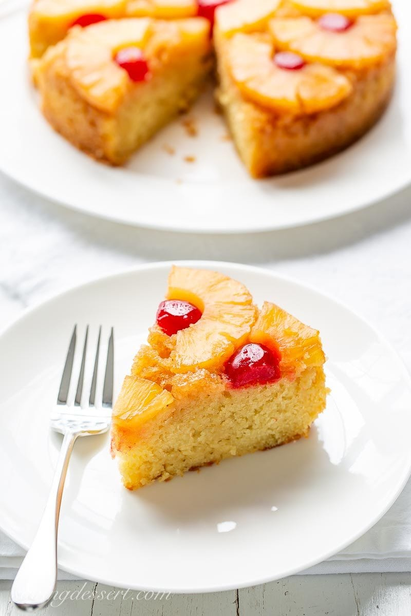 A slice of Pineapple Upside-Down cake