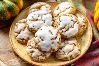 A plate of spiced Pumpkin Oatmeal Cookies
