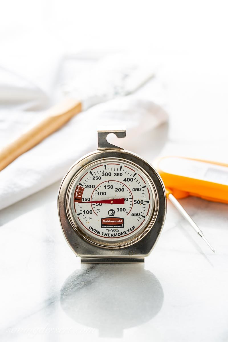 An oven thermometer used in our best baking tips