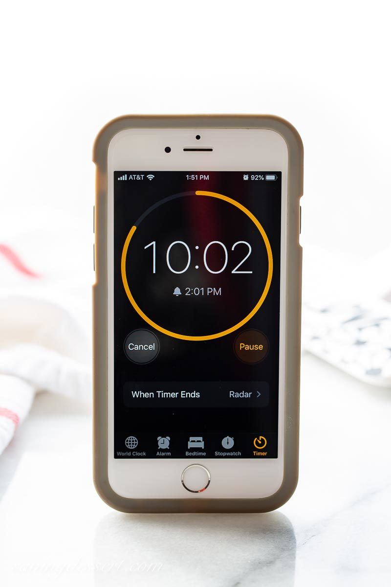A cell phone with a timer on the screen