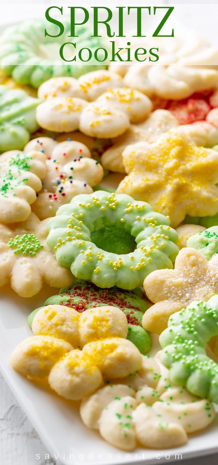 A platter of colorful Spritz Cookies in various designs