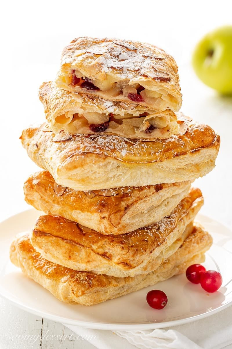 A stack of cranberry apple puff pastry tarts