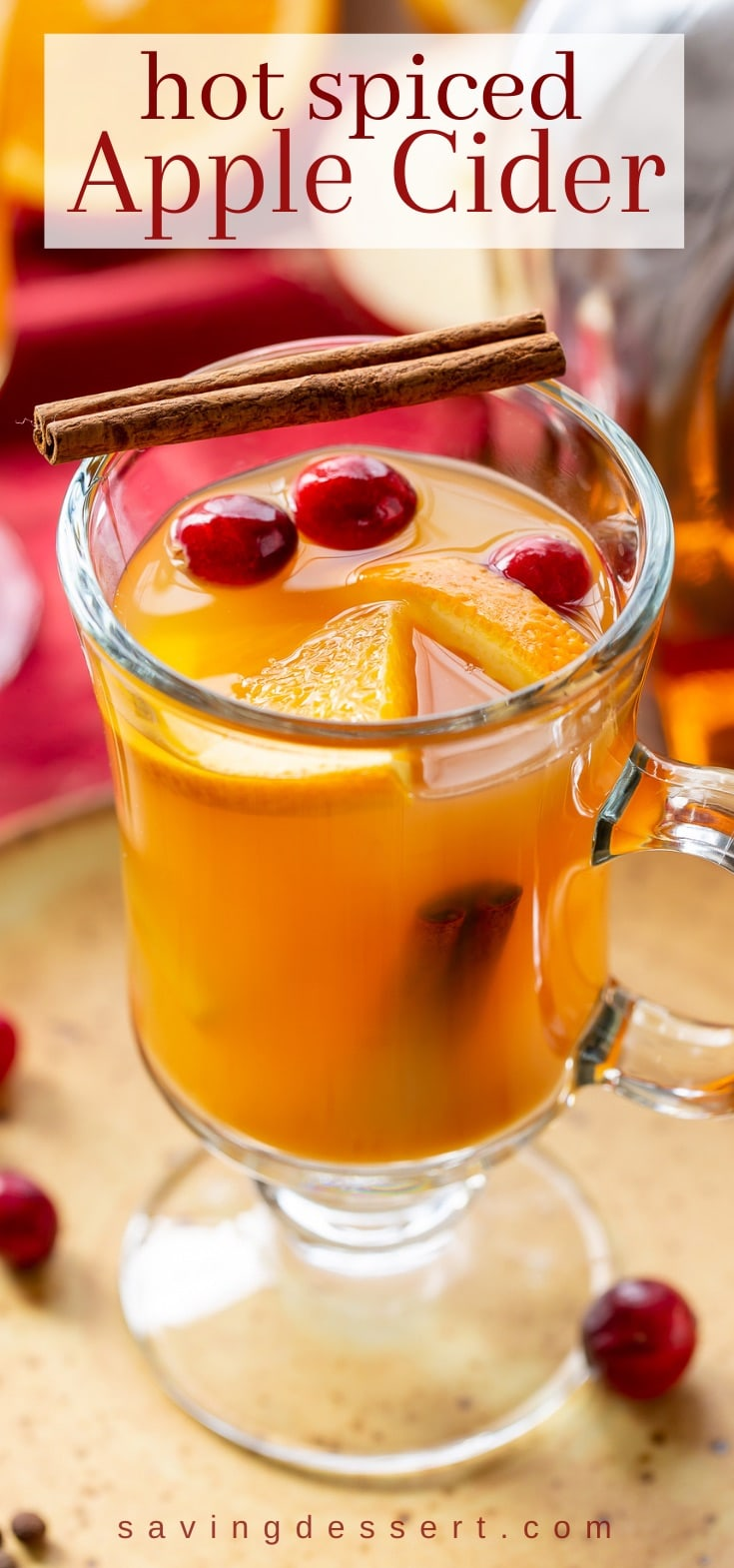 A mug of hot apple cider with cranberries and orange slices