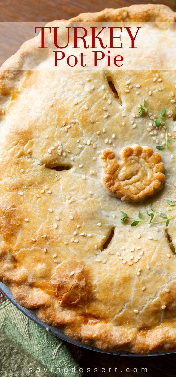 A close up of a savory turkey pot pie
