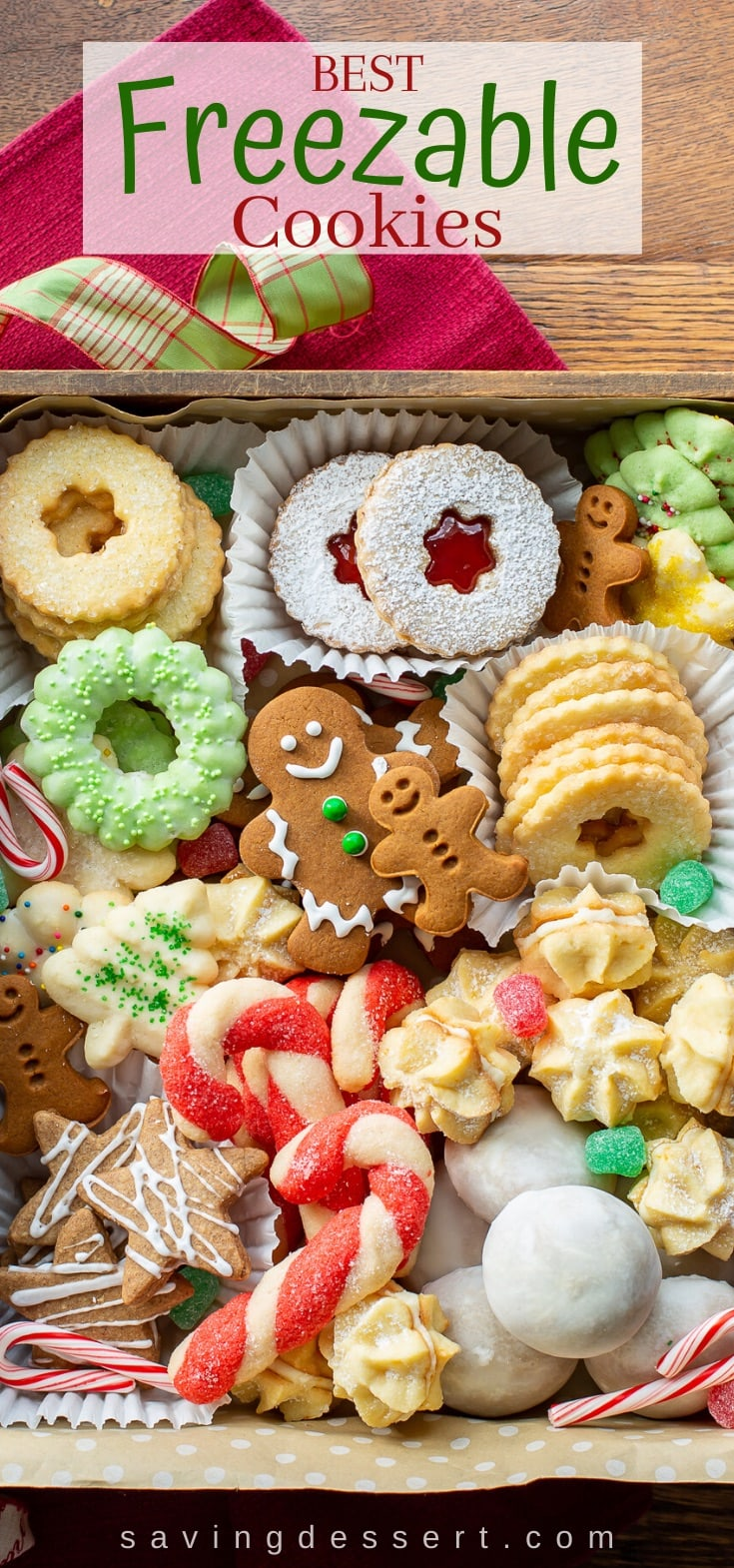 A colorful box of an assortment of Christmas cookies