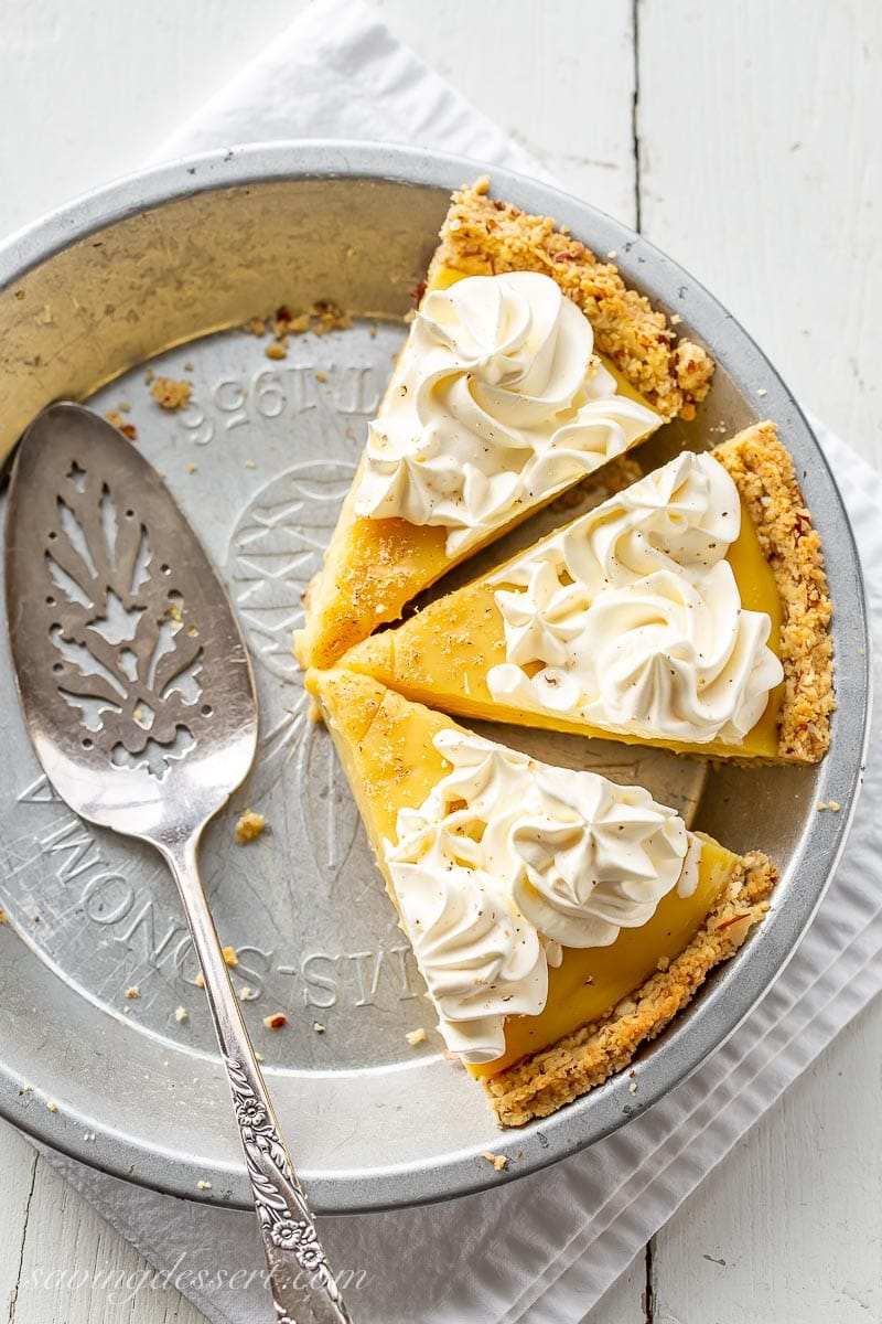 A few slices of eggnog pie in a pie plate