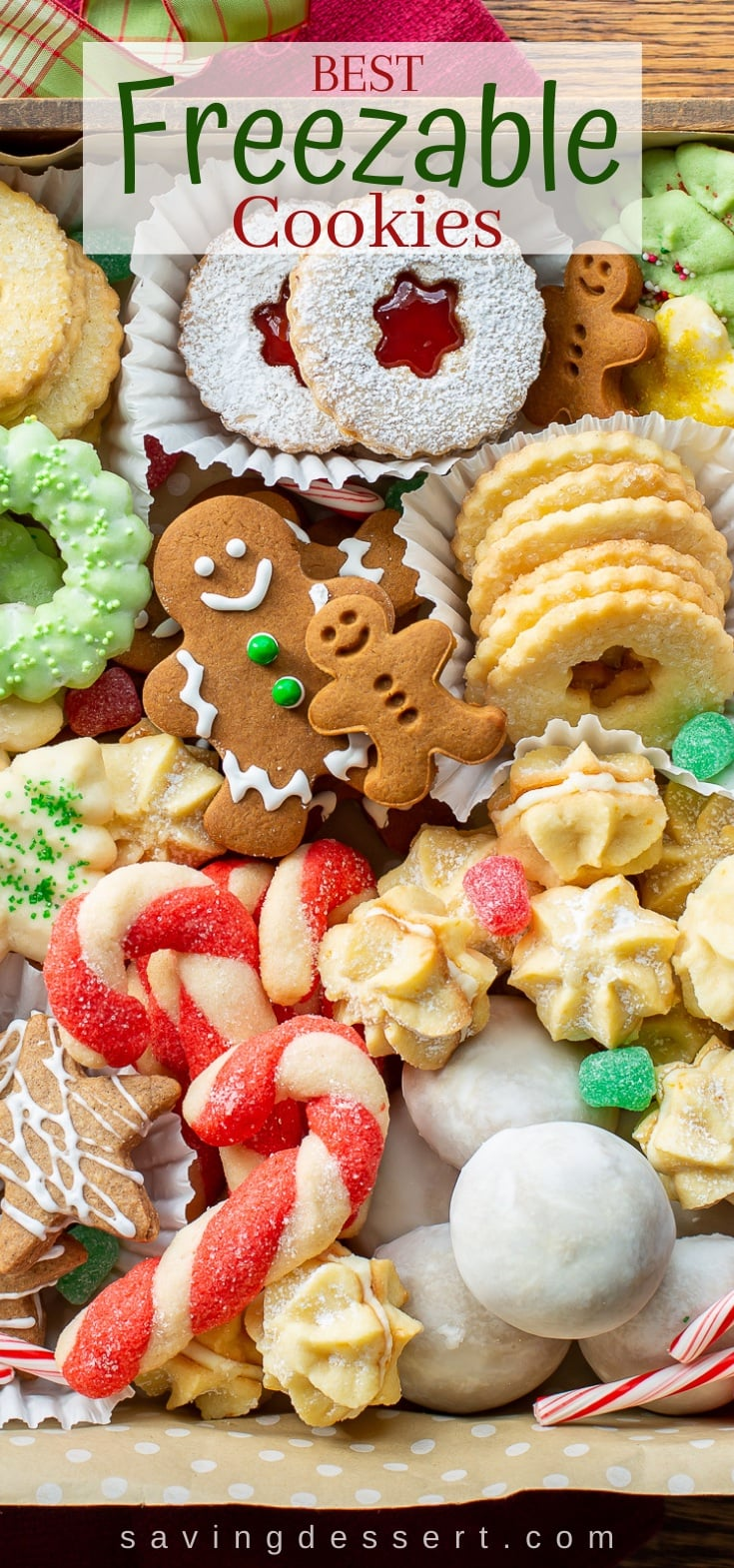 A box of assorted holiday cookies