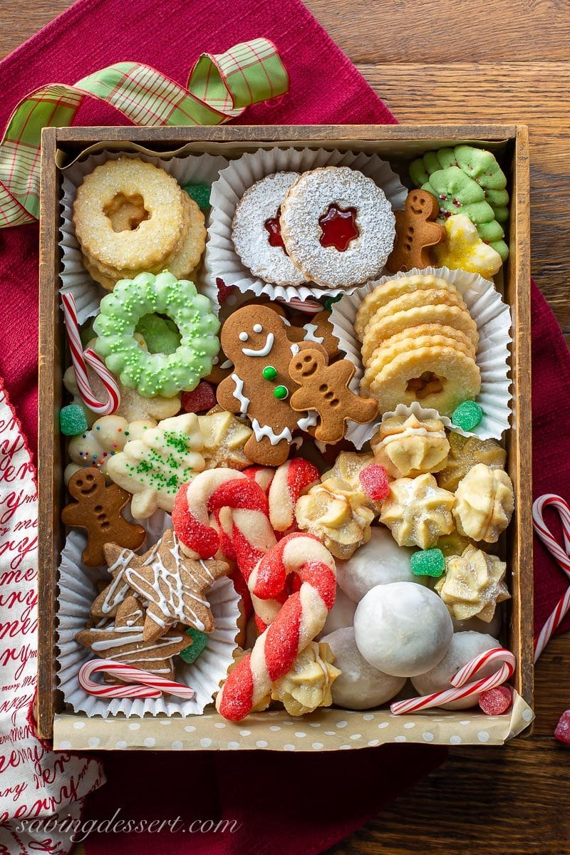 A box of assorted Christmas cookies