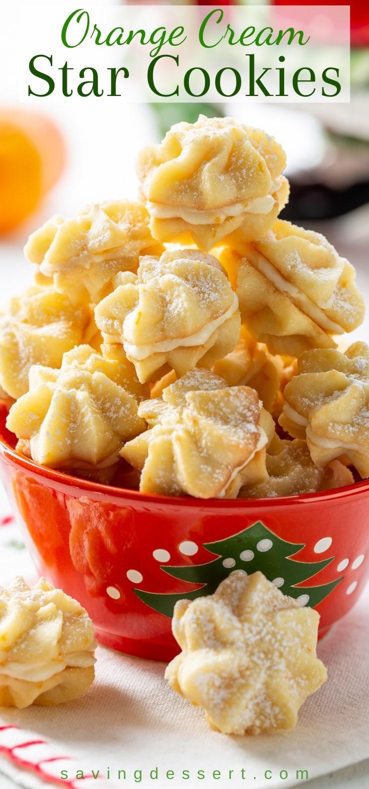 A Christmas bowl of orange cream star cookies