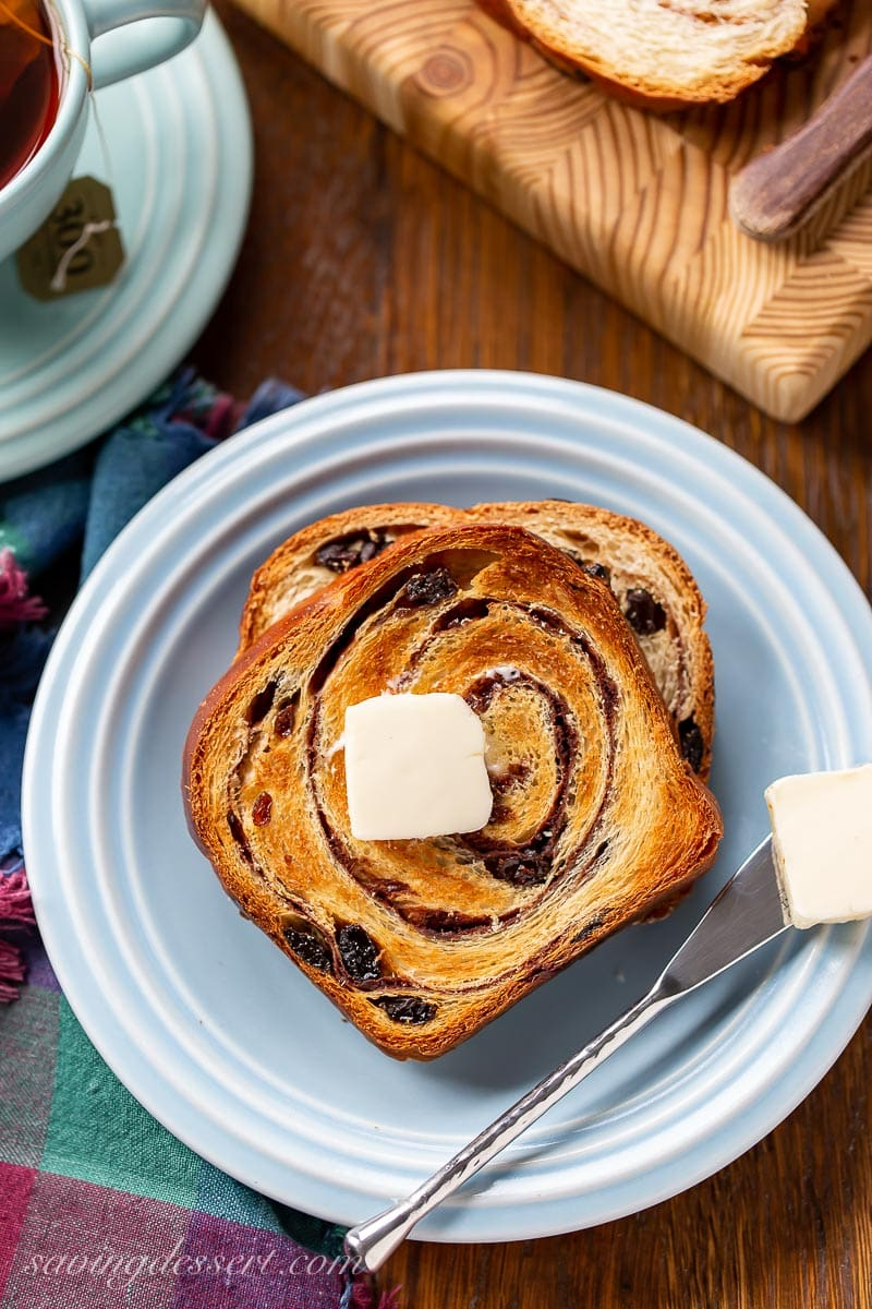 A toasted slice of cinnamon swirl bread with butter