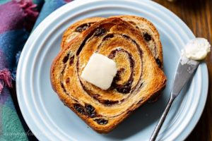 A toasted slice of cinnamon swirl bread