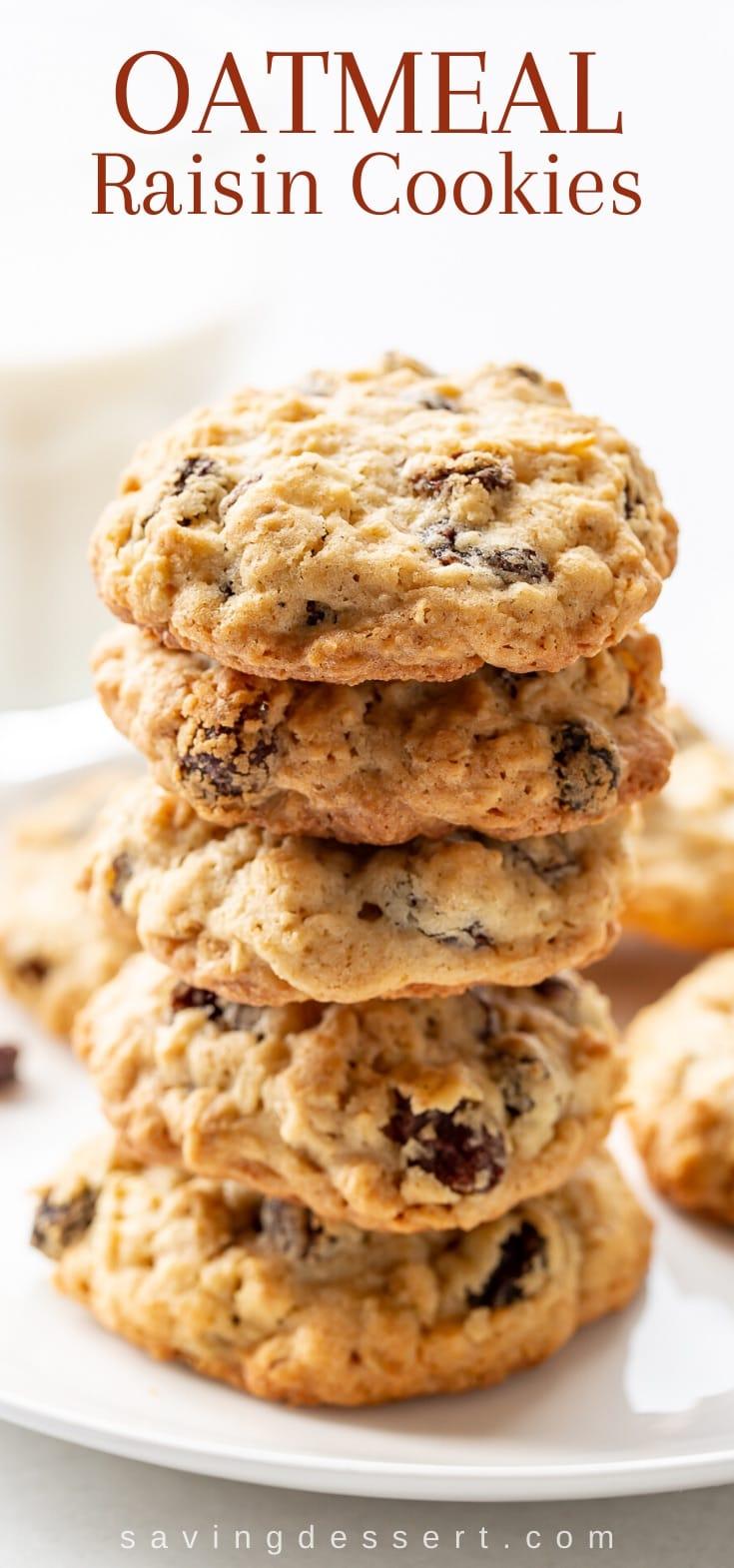 A closeup of a plate of oatmeal raisin cookies