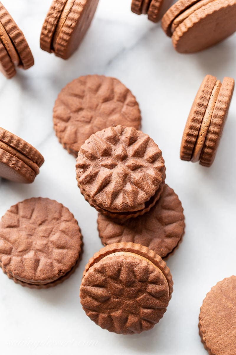 Stamped chocolate sandwich cookies