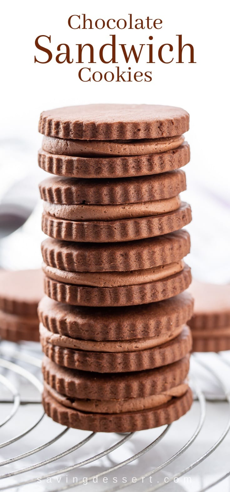 A stack of chocolate sandwich cookies