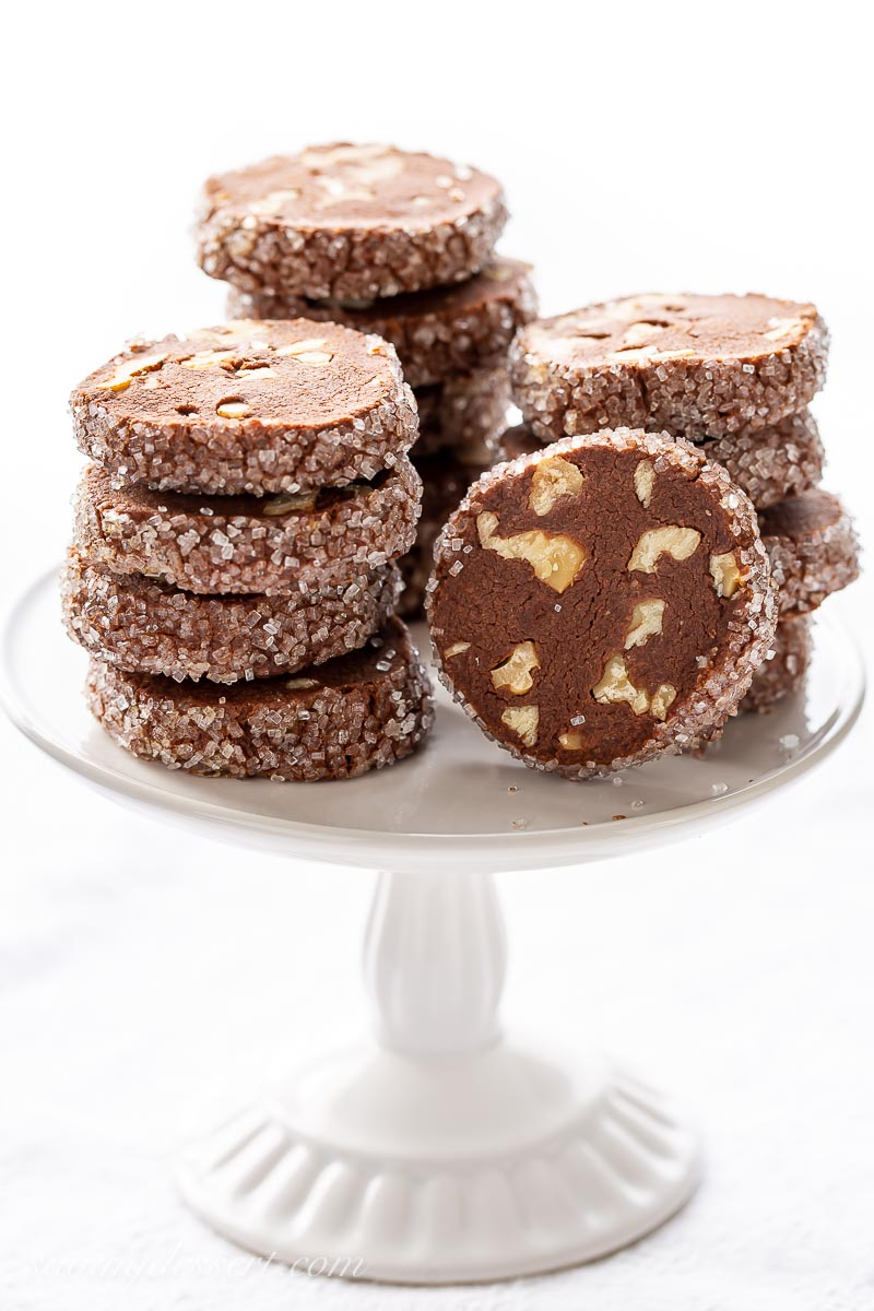 Chocolate Shortbread Cookies in a stack on a mini cake stand