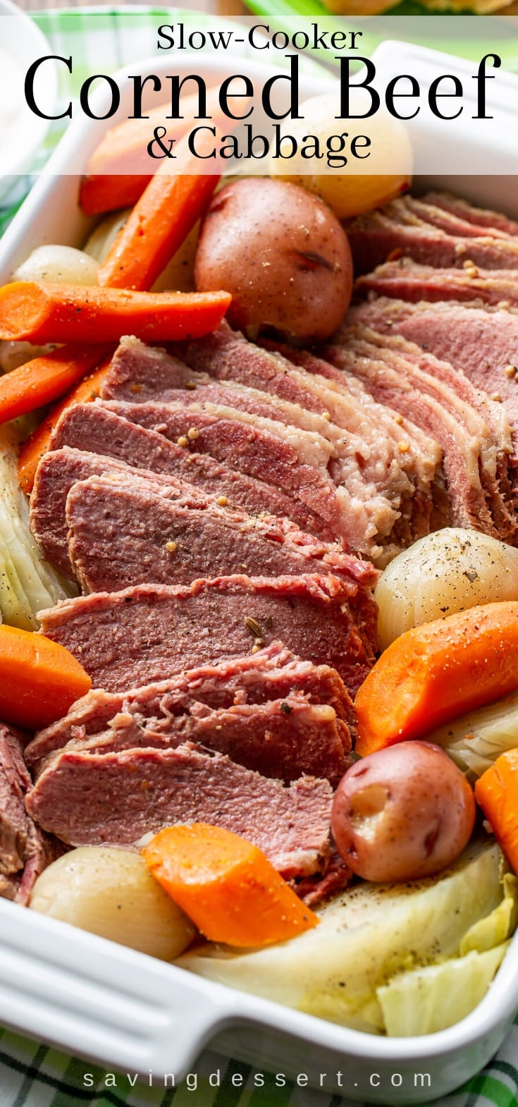 A closeup of corned beef and cabbage with potatoes