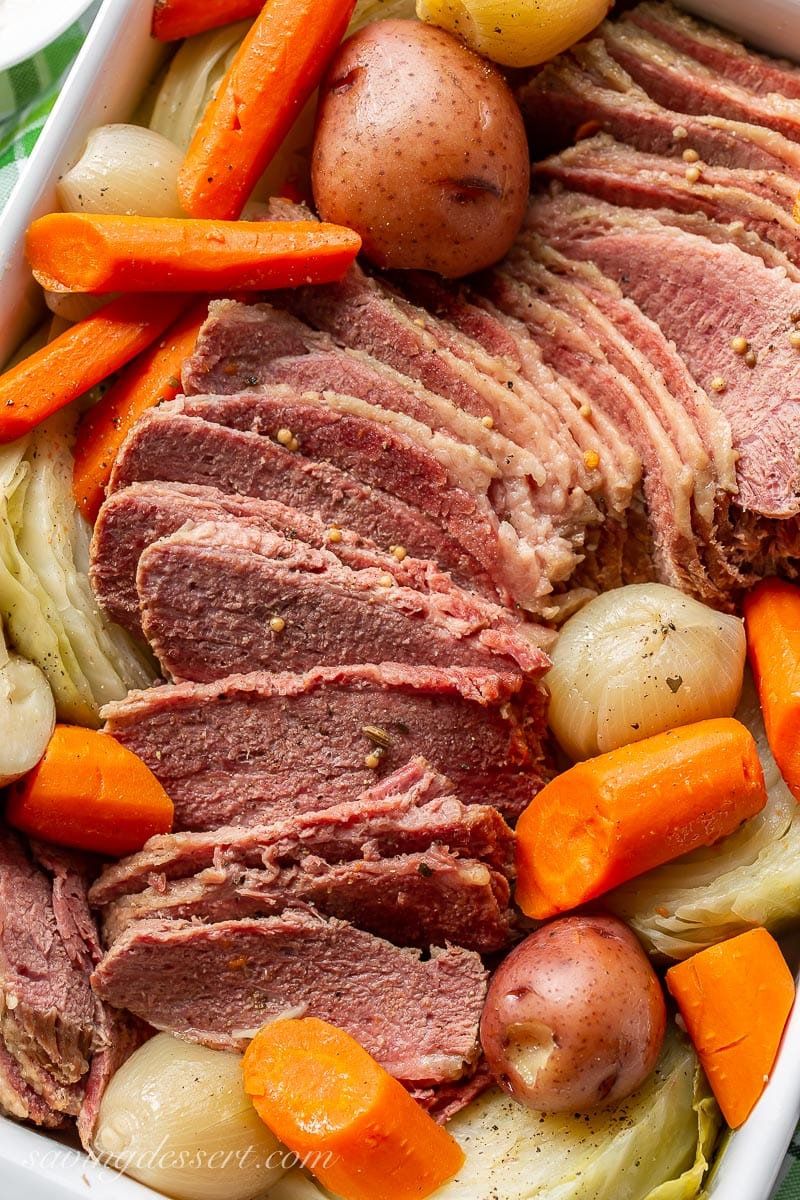 Sliced Corned Beef and Cabbage with carrots and potatoes