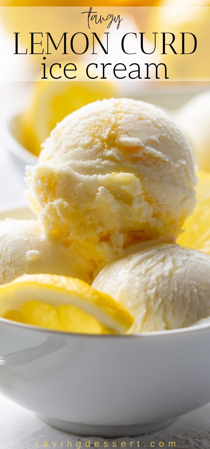 Scoops of lemon curd ice cream in a bowl