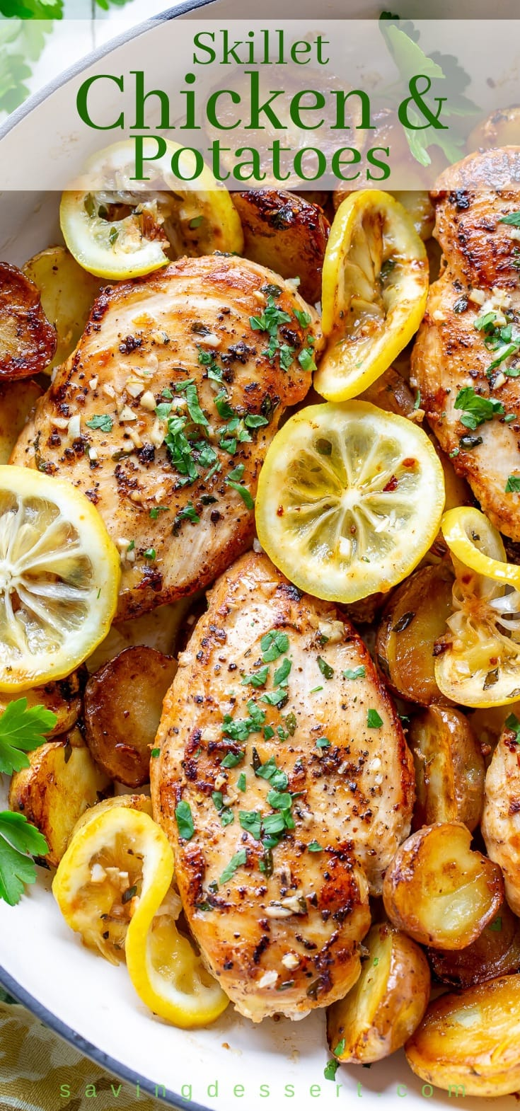 Chicken breasts with lemon, garlic, butter and potatoes