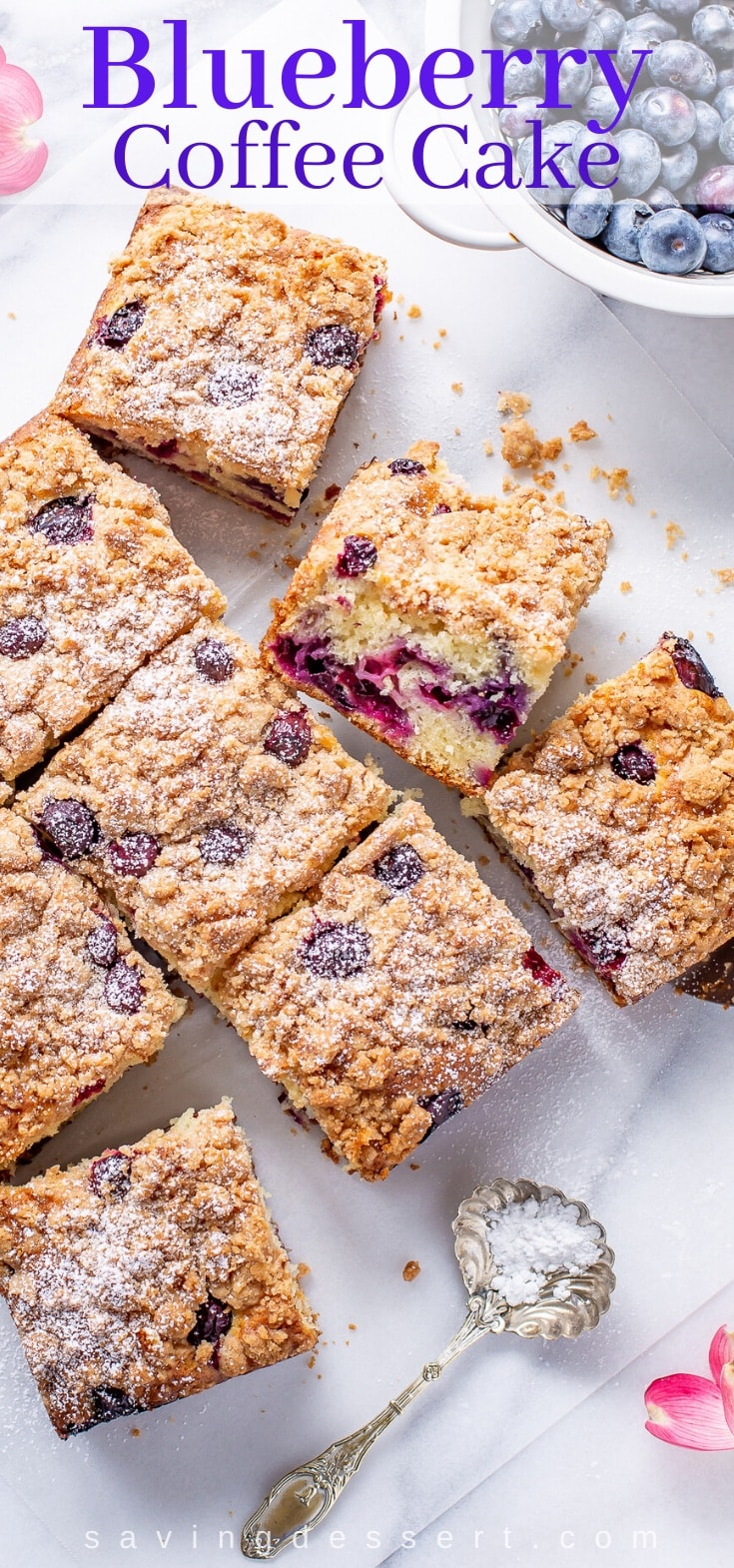 Sliced coffee cake on a table with blueberries and a streusel topping