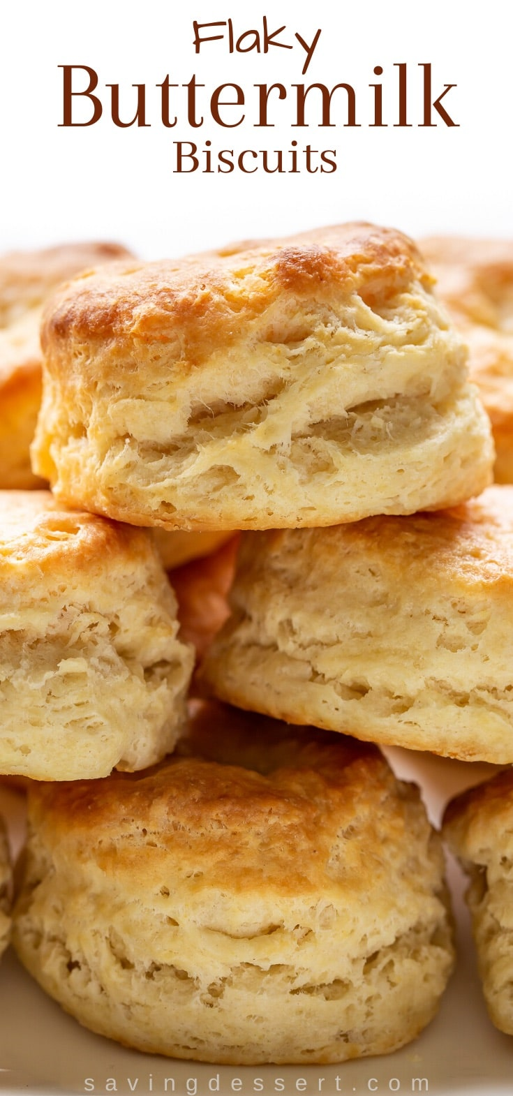 A stack of buttermilk biscuits on a platter