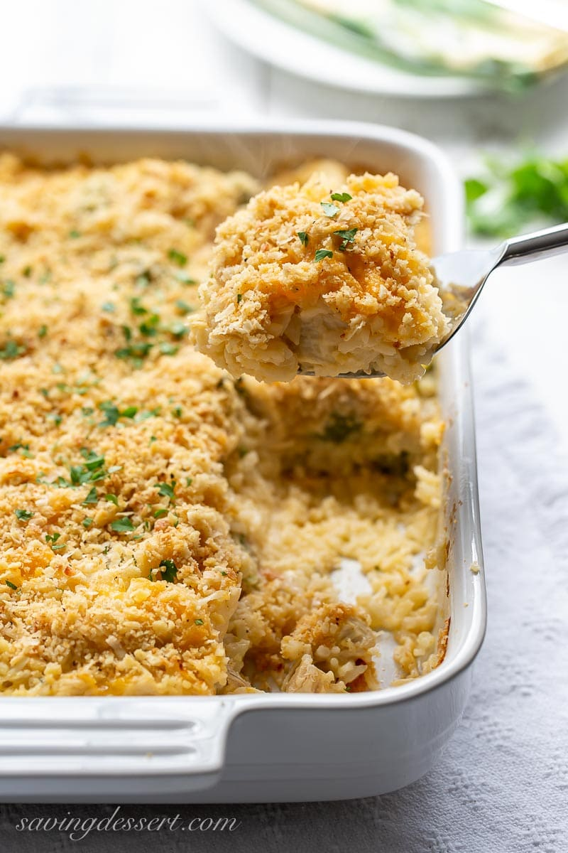 Chicken and rice casserole with broccoli