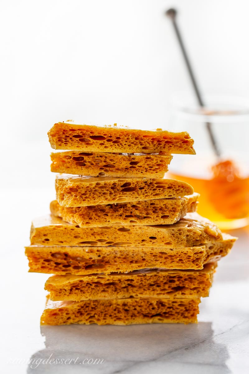 A stack of homemade honeycomb candy