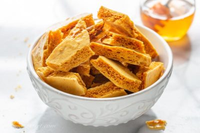 A bowl of homemade honeycomb brittle candy